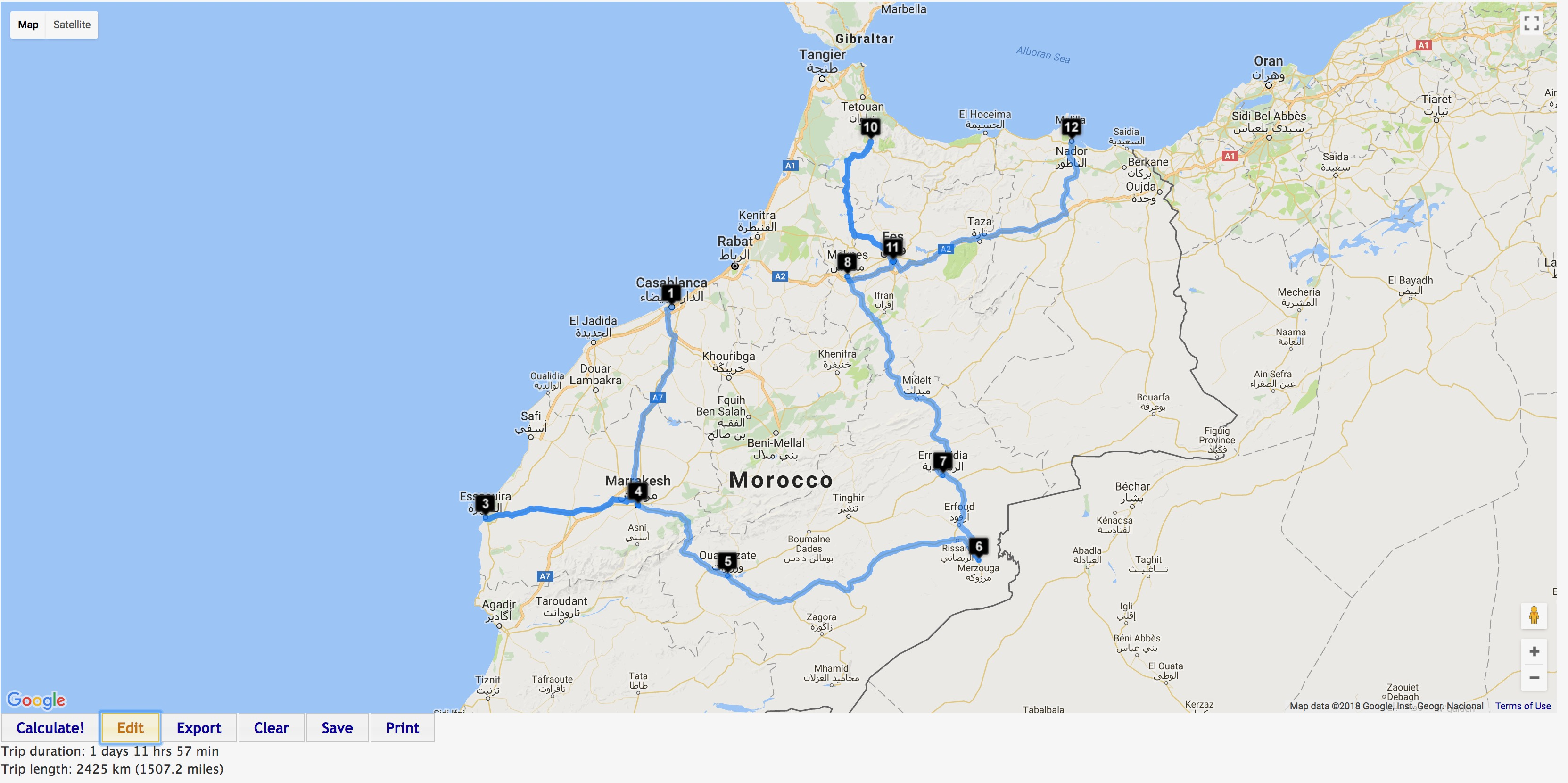 map of my travels in Morroco
